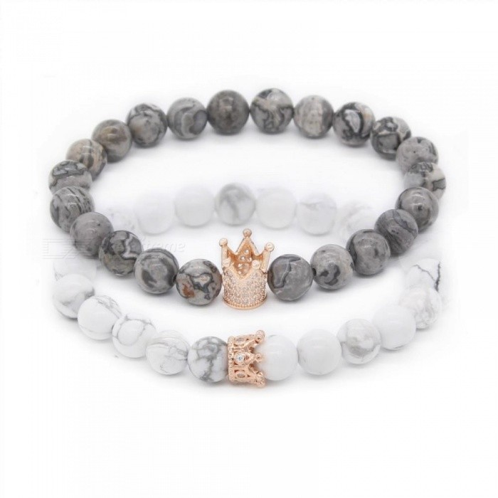Valentine S Day His And Her Bracelets Distance Black White Beads Cz Crown King Charm