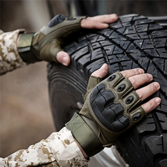 aca6f8121263 Army Tactical Fingerless Military Hard Knuckle Half Finger Gloves Airsoft  Paintball Bicycle Shooting Anti Skid Protection For Me L/Black