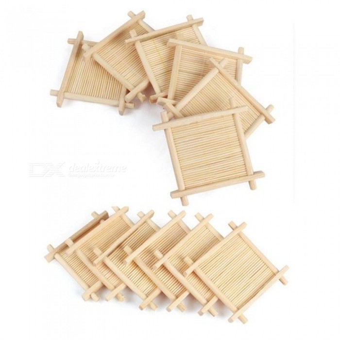 Square Tea Cup Mat 9*9cm Bamboo Mug Tray 7*7cm Plastic Coffee Coaster Vintage Retro Puer Oolong Chinese Kung Fu Tea Ceremony Too