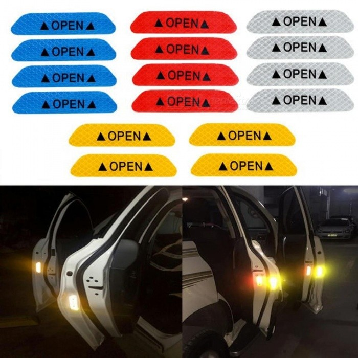 4pcs Car Door Stickers Open Warning Mark Reflective Tape Auto Exterior Accessories Sign Safety Reflective Strip Light Reflectors Exterior Accessories Reflective Strips