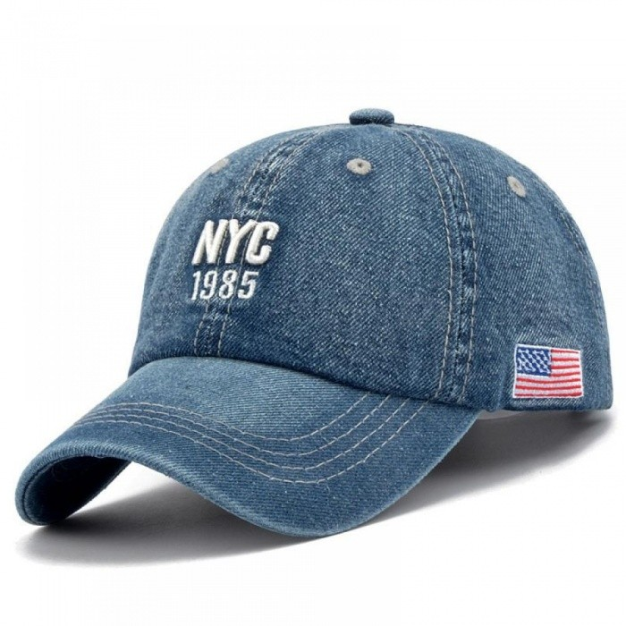 Denim Solid Blue Jeans New York City 1985 American Flag Baseball Hat Cap  Cowboy Dad Hat 00619910059