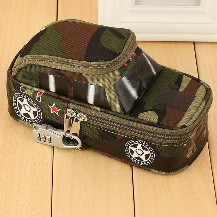 7cd86a8ec851 Pencil Case Vehicle Pen Pouch Bag with Combination Lock for Boys Double  Zipper Camouflage Canvas Large