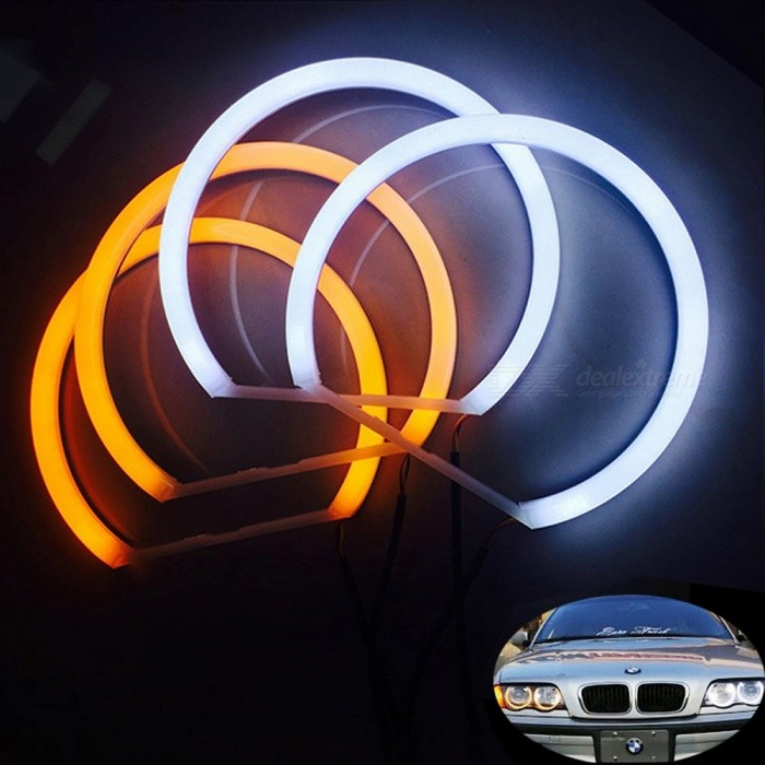 Hopstyling Car Styling Color Dual Blanco Amarillo 4x131mm Anillos Halo Llevados Para Bmw E36 E38 E39 E46 Angel Eye Lamp 240leds Chips Blanco Y