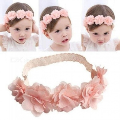Cute Baby Girl Toddler Lace Flower Hair Band Headwear Kids Headband Accessories With Pink Color Round Shape Pink