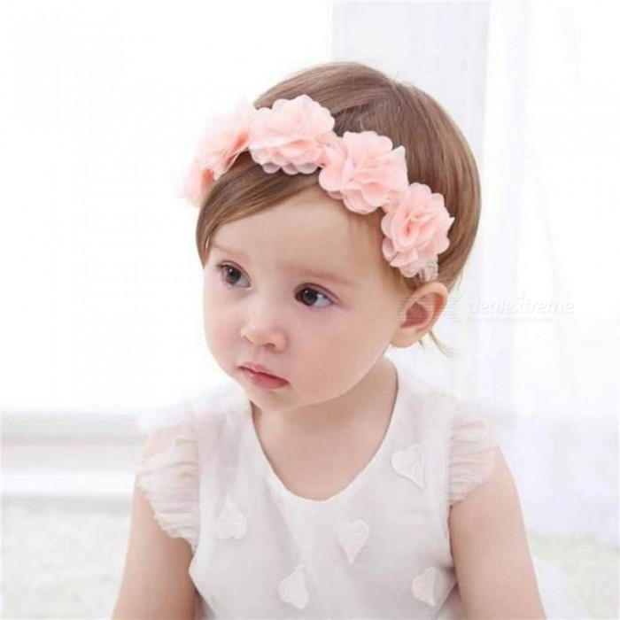 bd29cbddde0 Cute Baby Girl Toddler Lace Flower Hair Band Headwear Kids Headband  Accessories With Pink Color Round