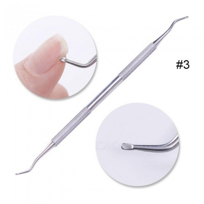 Dual-Ended Nail Cuticle Remover Pusher Tool Stainless Steel Groove Corrector Manicure Nail Art Pedicure Tool Kit