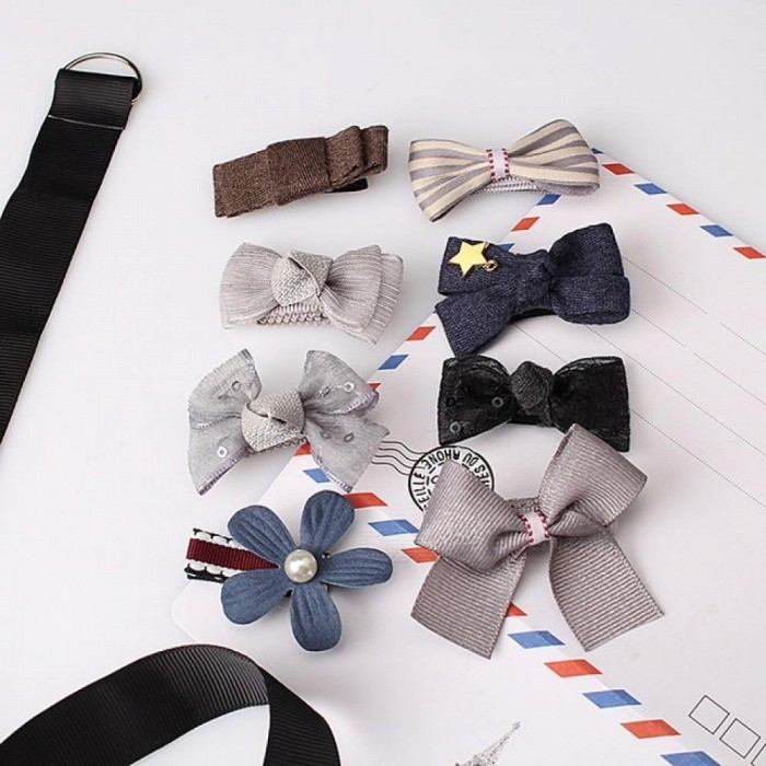 8 Pcs Multi-Style Ribbon Bow Flower Hairpins Hair Barrettes Children Accessories Cute Baby Girls Headwear Hair Clip