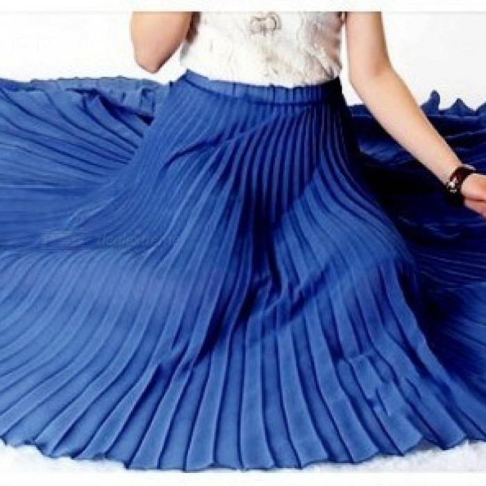 818fcf45c3 Spring Bohemian Pleated Maxi Skirts Womens Summer Solid Color High Waist  Chiffon Long Skirt Tutu Elegant