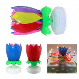 Candles Double Layer Rotating Musical Lotus Electronic Art Birthday Candles with Holder Gift for Kids Birthday         Yellow