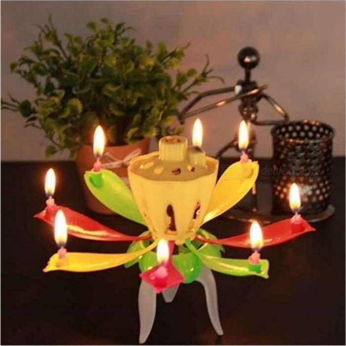 Candles Double Layer Rotating Musical Lotus Electronic Art Birthday With Holder Gift For Kids