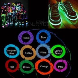 1M/2M/3M/5M Waterproof LED Strip Light Neon Light Glow EL Wire Rope Tube Cable+Battery Controller For Car Decoration Party 1m/White