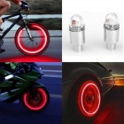 LED Tire Valve Stem Caps Neon Light Auto Accessories Bike Bicycle Car Auto Waterproof Youthful Cycling Exercise Flashlight 2PCS Green