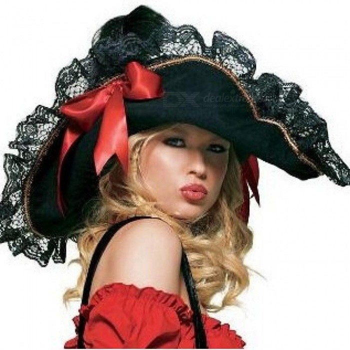 Swashbuckler Hat For Halloween Costume for Women Lace Pirate Hat With Black Color Classic Holloween Hat