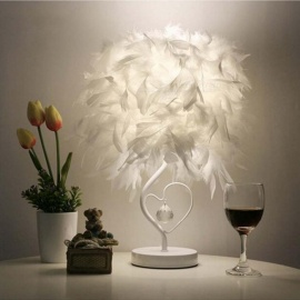 Bedside Reading Room Sitting Room Heart Shape Feather Crystal Table Lamp Light with EU Plug US UK AU Plug Small Size button switch/White