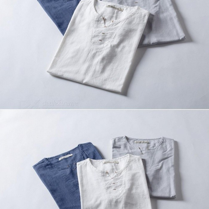 High Quality Men Summer Brand Shirts Men Short Sleeve Loose Thin Cotton Linen Shirt Male Fashion Solid Color Trend O-neck Tees Men's Clothing T-shirts
