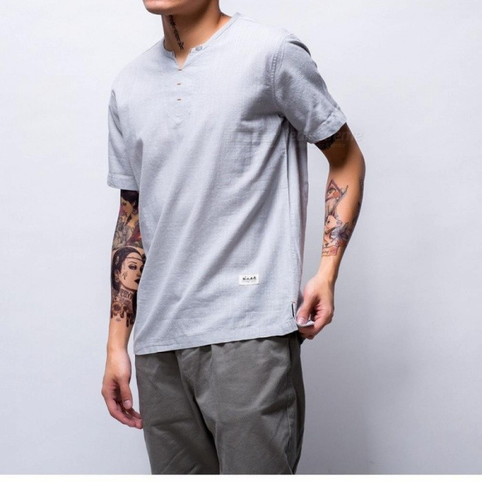 457128a40e5 Summer Brand Shirt Men Short Sleeve Loose Thin Cotton Linen Shirt Male  Fashion Solid Color Trend