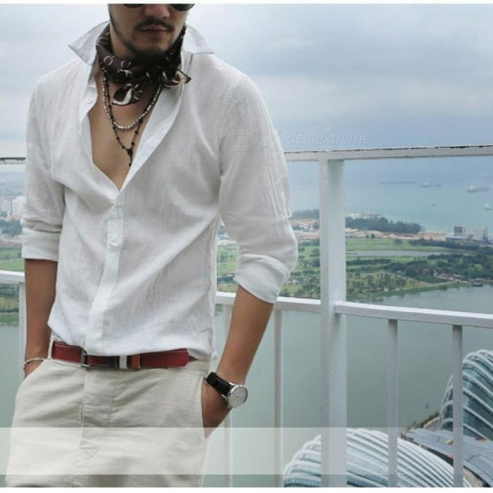 Plus Size Shirts Cotton Linen Men Shirt Long Sleeve Summer Style Hawaiian Shirts Sexy Slim Fit Men Clothes