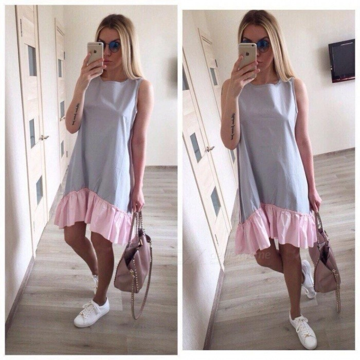 Summer Sleeveless Casual Dresses Women Loose Patchwork Sleeveless Ruffles O- Neck Mini Beach Dress Plus Size S Gray - Worldwide Free Shipping - DX a4c9a979061e