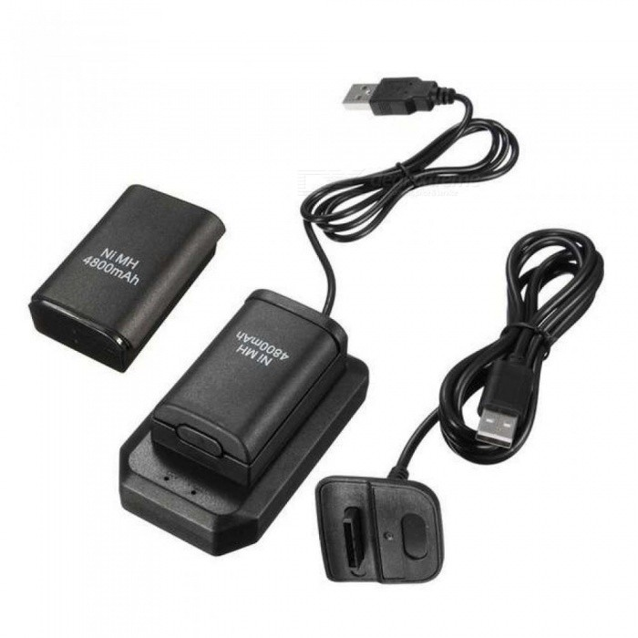 Charging Kits 2X4800mAh Rechargeable Batteries+1 Desktop Charger+1 USB Charger Cable for Xbox 360 Wireless Controller