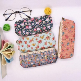 Mini Retro Flower Floral Lace Pencil case pen bag Multi-Function Zipper Pencil Holder Bag Gift Stationery Pink