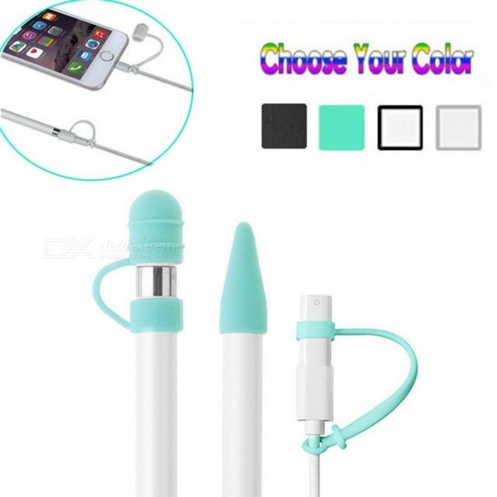 For Apple Pencil Cap Holder Nib Cover Cable Adapter Tether IPad Pro Multi Colors Optional Black
