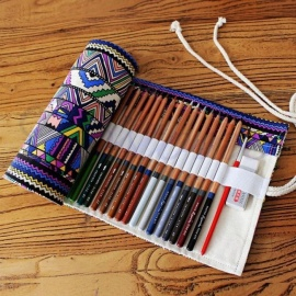 Canvas Wrap Roll up Pencil Case Pen Bag Holder Storage Pouch 36/48/72 Multi Holes For Optional For 1PCS 36 Holes