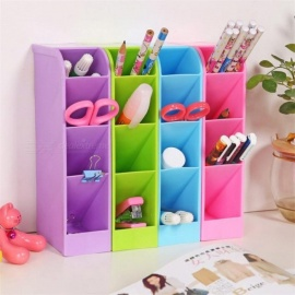 Multi-function Plastic PP Desktop Storage Box Case 4 Grid Sub-grid Make up Cosmetic Holder Desk Pen Pencil Organizer Blue