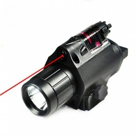 Tactical LED Flashlight and Red Laser Sight Combo with Remote Handle and 20mm Mount For Glock 17 19 And Hunting Rifles Black