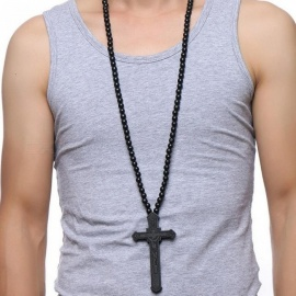 Large Wood Catholic Jesus Cross with Wooden Bead Carved Rosary Pendant Long Collier Statement Necklace Men Jewelry NC-352C