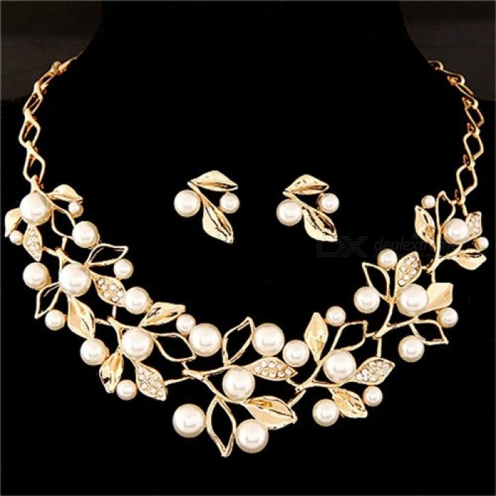 ff8acbabd07f8 Elegant Simulated Pearl Bridal Jewelry Sets Gold Silver Plated Leaf Crystal  Choker Necklaces Earrings Sets Wedding Jewelry F443