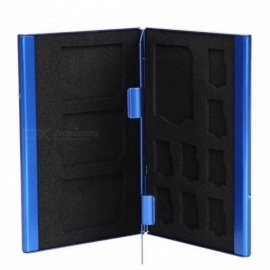 Memory Cards Case Aluminium Alloy 8 TF + 4 SD Memory Cards Storage Box SD Card Holder With Blue Color Blue
