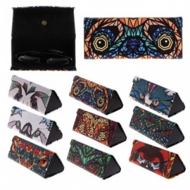 Triangle Foldable Glasses Case Cartoon Animal Eyeglasses Sunglasses Case Box With Blue&White Color Optional Blue