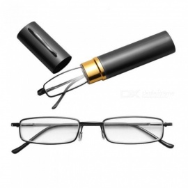 Unisex Stainless Steel Frame Resin Reading Glasses 1.00-4.00 With Tube Case With Multi Color Optional For 1PC  Black/+100