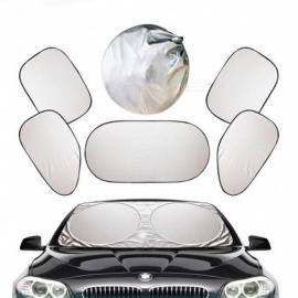 Silver Auto Sun Visor Car Front Rear Windshield Side Window Blinds Sucker Mount Sunshade Curtain Car Styling Covers For Front Windshield