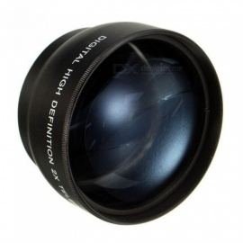 52mm Camera 2X Telephoto Lens for Nikon D7100 D5200 D5100 D3100 D90 D60 and Other DSLR Camera Lenses with 52mm Filter Thread Black