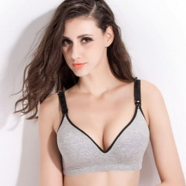 Breastfeeding Cotton Maternity Nursing Bra Sleep Bras for Nursing Pregnant Women Breastfeeding Prevent Sagging 34/B/Gray Black