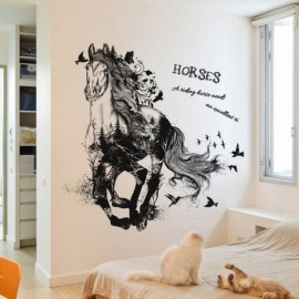 Black Run of Horse Removable Cartoon Wall Stickers Living Room Sofa Background Home Decor Sticker Mural Black