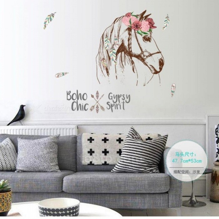 Creative Horse Head Personality Wall Sticker Mural Removable DIY Room Decor Decals Bedroom Wall Decal SK7092