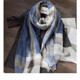 British Style Plaid Men Scarf Winter Classical for Men and Woman Imitation Cashmere Scarves Tassel  Unisex Gray