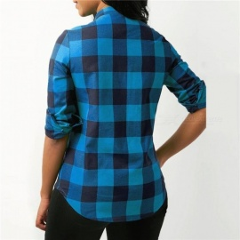 Women Plaid Shirts Autumn Long Sleeve Blouses Shirt Office Lady Cotton Lace up Shirt Tunic Casual Tops Plus Size Blusas S/Red