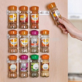 Spice Rack Spice Wall Storage Plastic Kitchen Organizer Rack 12 Cabinet Door Hooks 3PCS/SET Kitchen Accessories 3pcs/Set