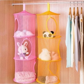 3 Shelfes Hanging Storage Net Kids Toy Organizer Bag Bedroom Wall Door Closet Multi Colors For Options Green