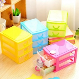 Practical Detachable DIY Desktop Storage Box Transparent Plastic Storage Box Jewelry Organizer Holder Cabinets for Small Objects 3 Layer Green