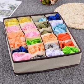 Storage Boxes For Ties Socks Shorts Bra Underwear Divider Drawer Lidded Closet Organizer Ropa Interior Organizador 4PCS Beige