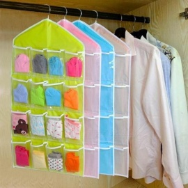16 Pockets Clear Hanging Bag Socks Bra Underwear Rack Hanger Storage Organizer Multi Colors For Optional Beige