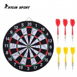 Indoor 15 Inches Sports Double Target Dart Magnetic Flocking Dartboard Board Double Thickening Withe Black&White Color 15inches
