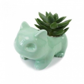 Kawaii Ceramic Flower Pot Bulbasaur Succulent Planter Cute White / Green Plants Flower Pot with Hole Cute Green