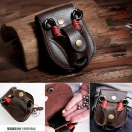 Leather Case Waist Bag Pouch for Slingshot and Steel Balls Pocket Slingshot Catapult Bag Sports Hunting Bow Accessories Brown
