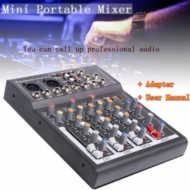 Karaoke Mixer Professional 4 Channel Studio Audio Mixing Console Amplifier Digital Mini Microphone Sound Mixer Sound Card Black