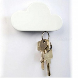 Fashion Creative Cloud-Shaped Wall Magnetic Keychain White Novelty Key Holder Simple Design Keychain with 3M Sticker White